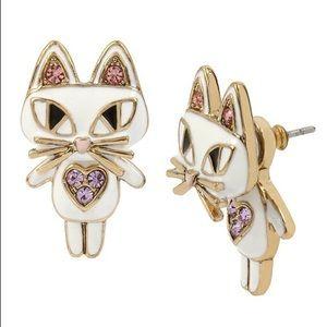 Betsey Johnson white Cat Front/Back Earrings